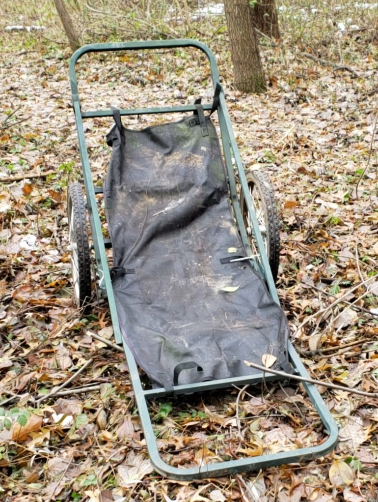The trespasser planned to use this cart to remove the deer he killed.