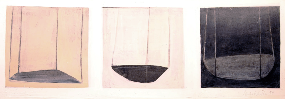 "Sacred Spaces ,     '98   ,  intaglio and watercolor monoprint,  18"" x  54""       SOLD"