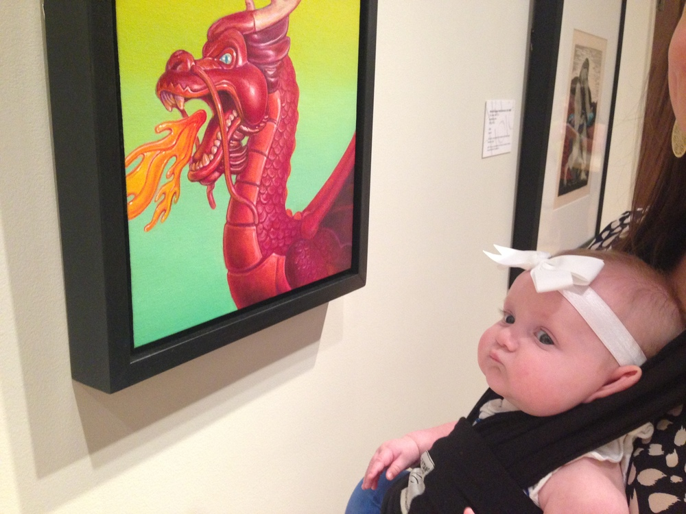 Dragon's Breath will be amongst other Mississippi artist's works featured in this fundraiser exhibit for the museum. Also featuring little Annelise enjoying daddy's painting.