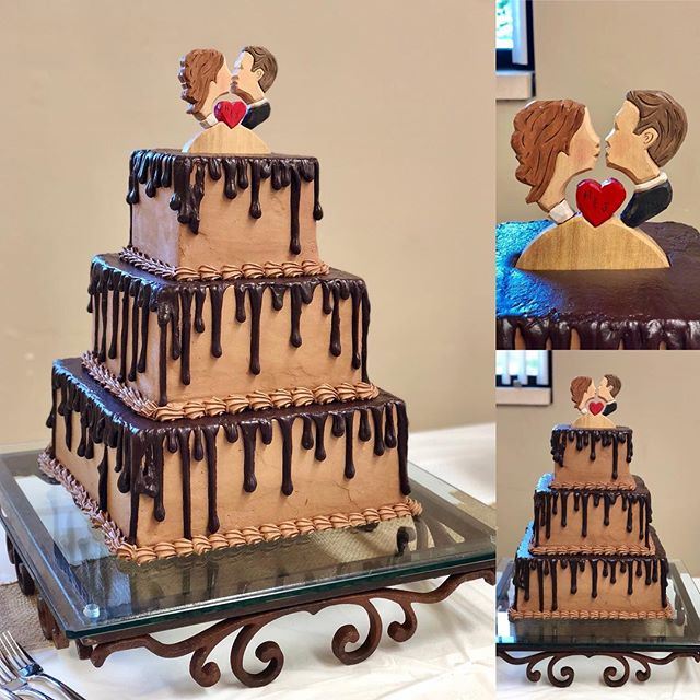 Yellow and chocolate cake with drizzled ganache for my nephew Jonathan and Hannah. Hand carved custom cake topper made by groom's Uncle- check out his amazing work on Etsy and Facebook at M.A. Dellinger Wood Carvings!