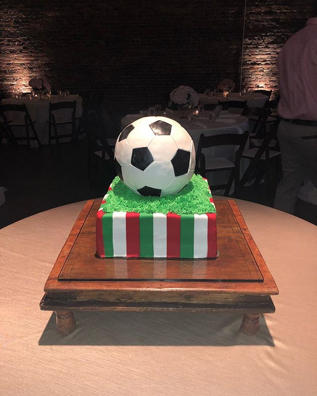 This sweet bride surprised her groom with a 3-D soccer ball cake. @bawarehousebham