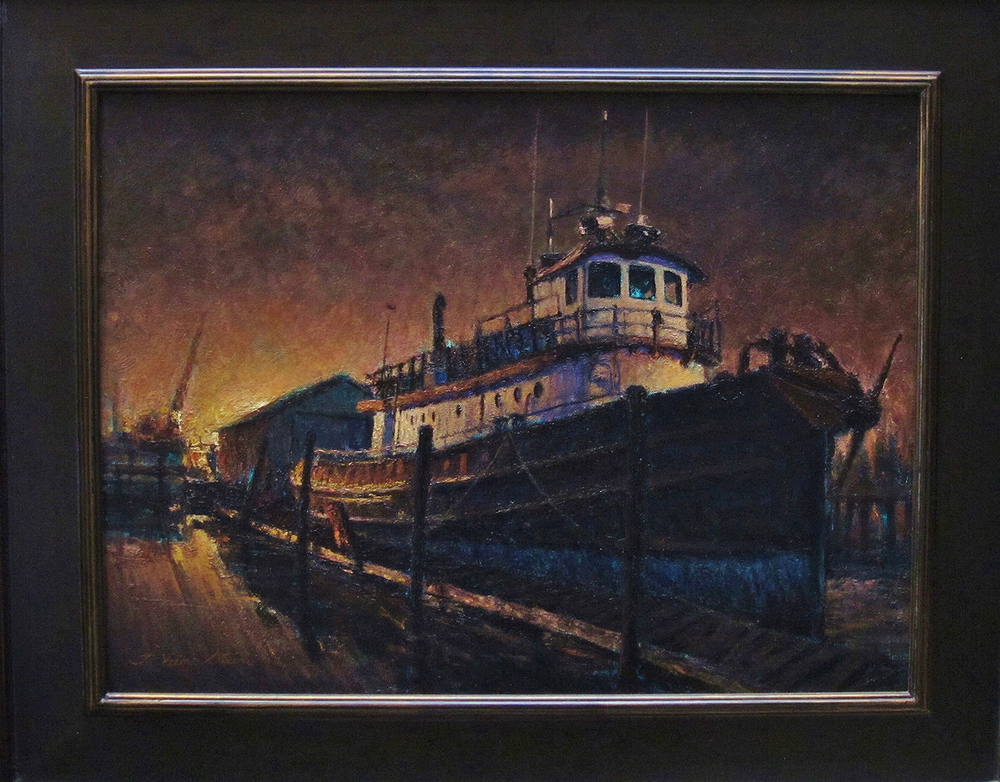 Harbor Tug Nocturne, 18 x 24 inches