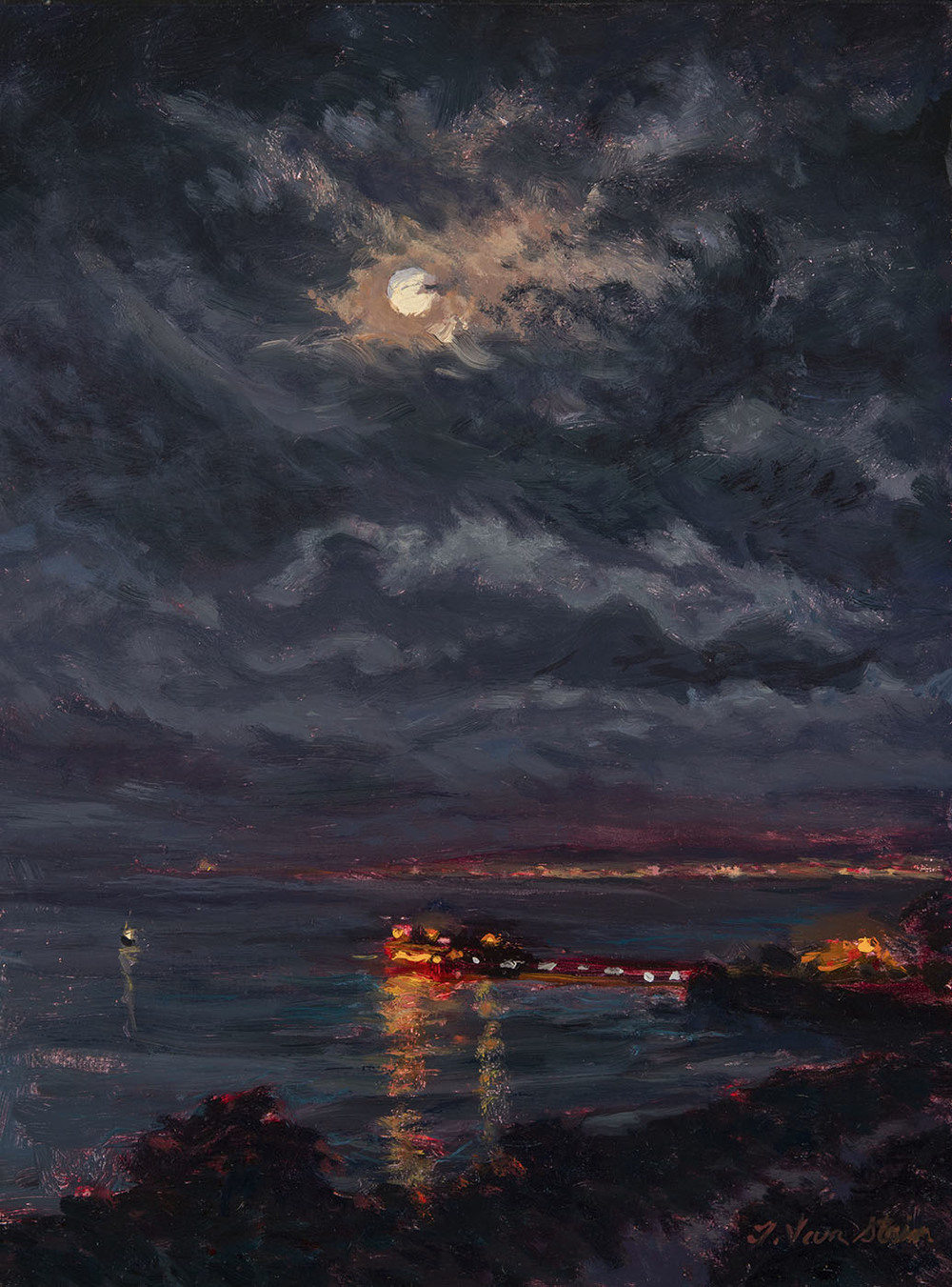 Winter Moonset, Carpinteria   (SOLD)