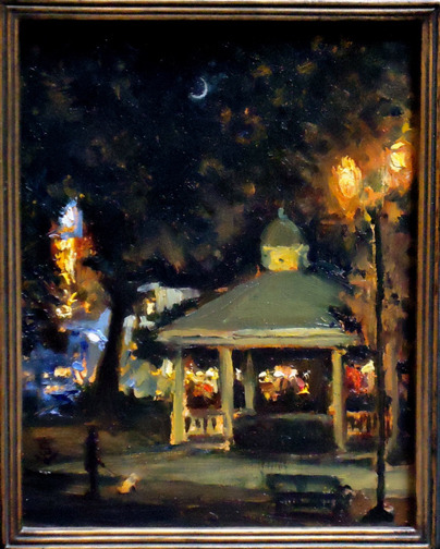 The plein air festival was over.  A lonely wind swept through the  park, and occasional passer's by. I decided to paint this painting of  the city's gazebo; the gathering place for the community after 9-11, and  the earthquake that nearly destroyed Paso Robles a few years ago. The  art gallery: Studios on the Park, can be seen in their florescent decor,  through the trees on the left. This was the first time I'd placed a dog walker and his dog doing his duty, into a painting. This painting was blogged by Steve Doerhty, Chief Editor of Plein Air Magazine: http://www.outdoorpainter.com/tips/nocturnal-paintings-732.html 