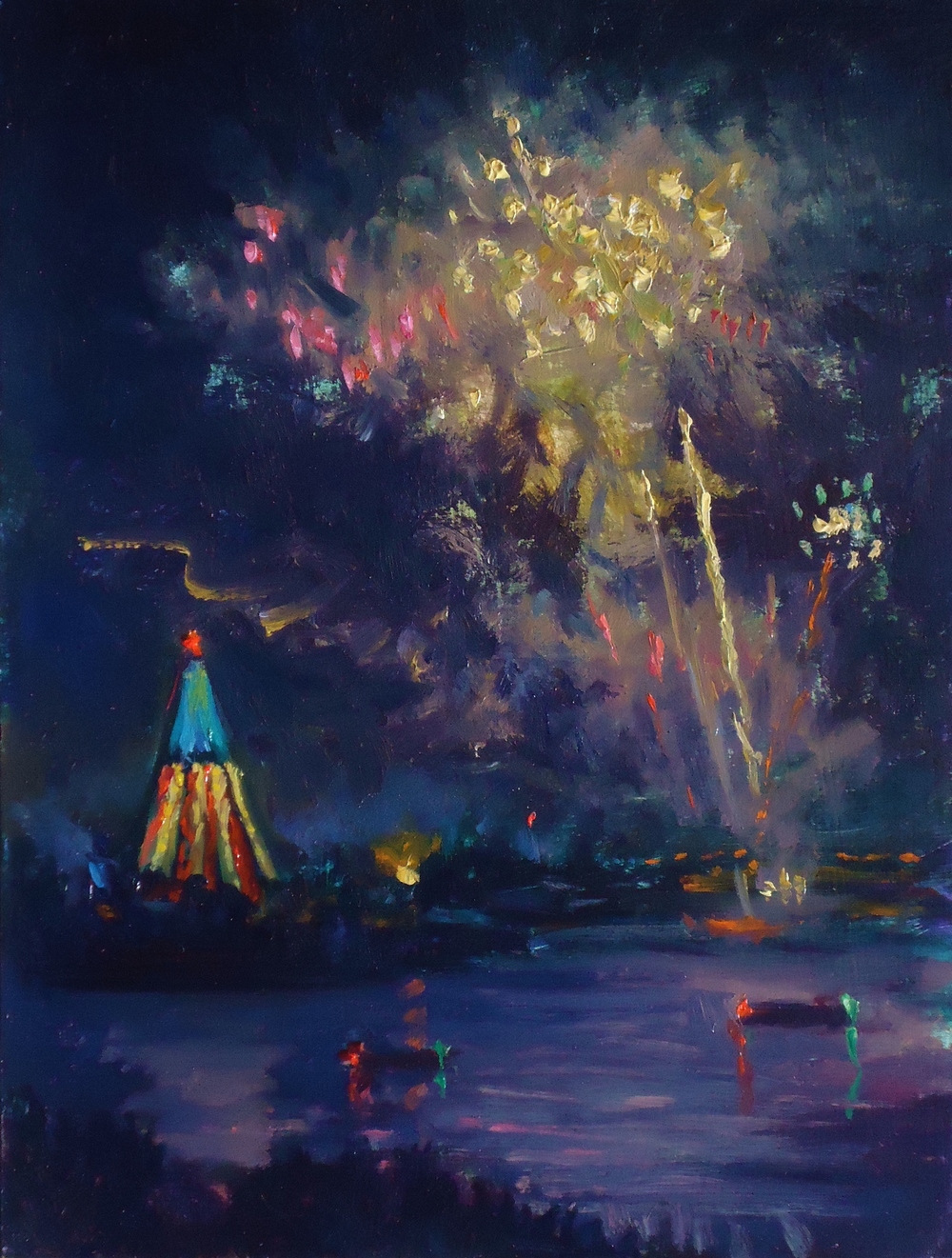 4th of july festivities, sea world 12x9 oil 2012.jpg