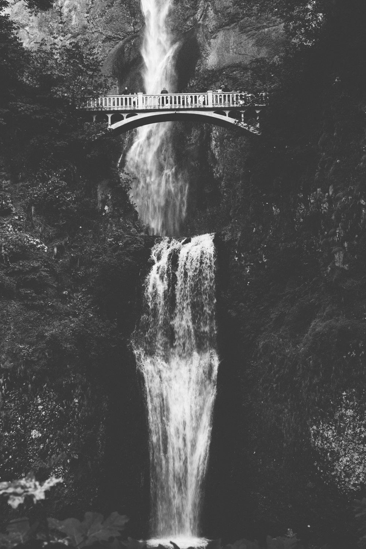 multnomah falls - b+w