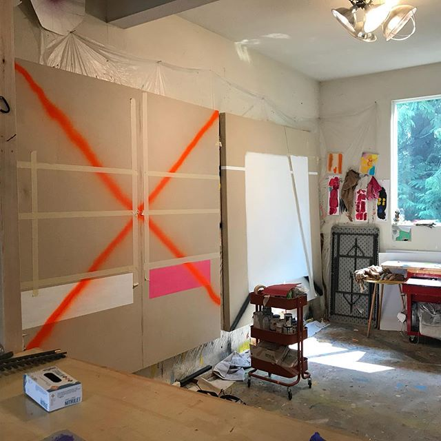 Studio, north wall, late summer 2018...2018.14 and .15 at early stages. #painter #oilpainting #seattle #seattleart #abstract #contemporaryart #reductivepainting