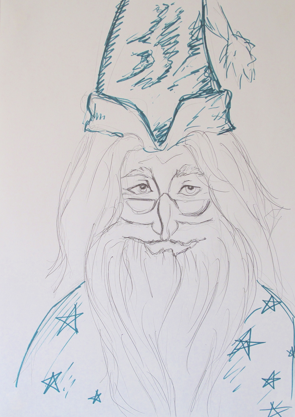Dumbledore pen rough sketch