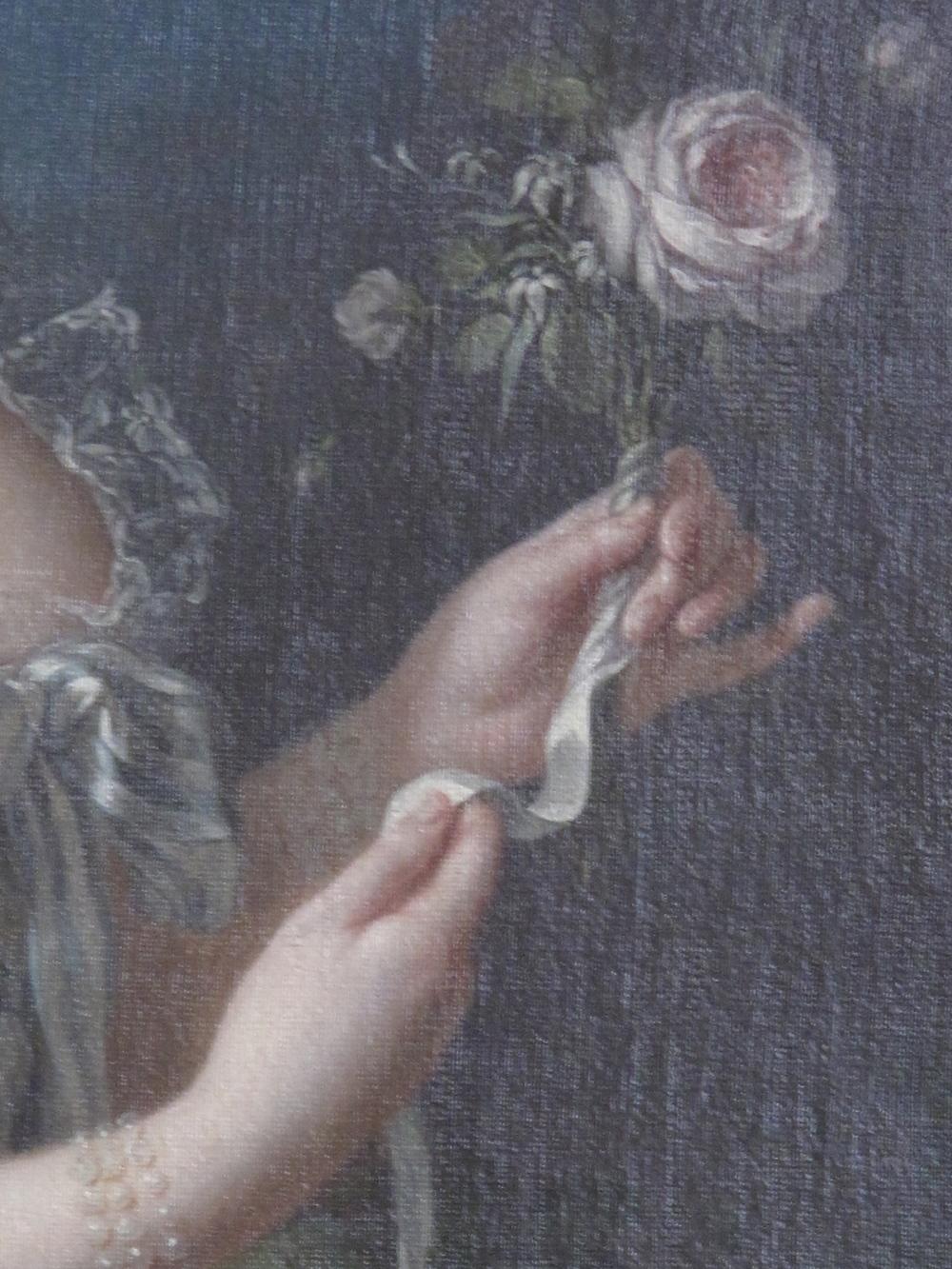 Marie Antoinette holding rose