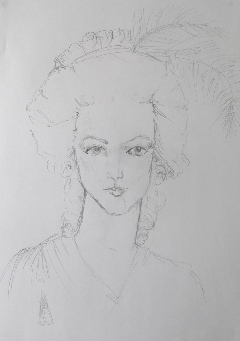 Marie Antoinette sketch portrait