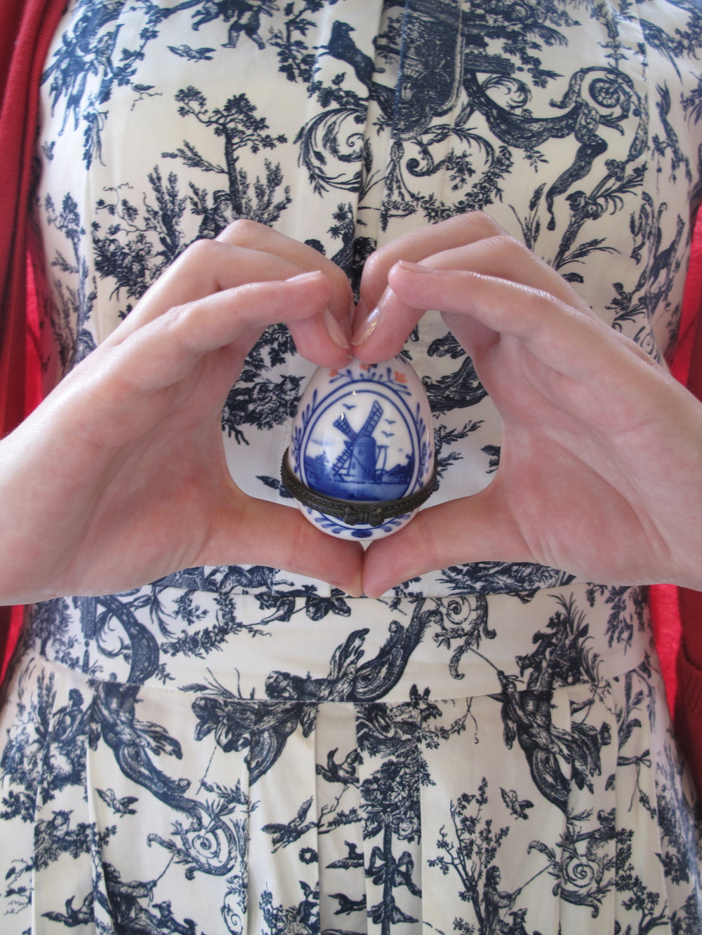 Delft blue and white china print dress