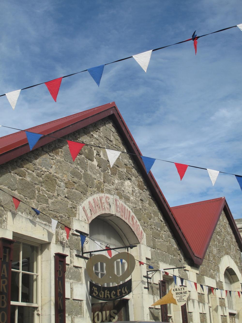Oamaru garlands of flags