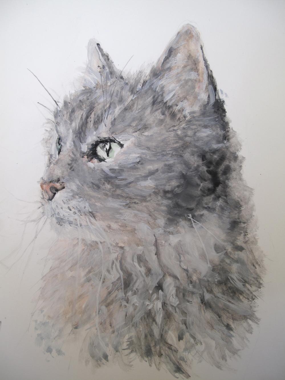 Miro the cat - a painted portrait