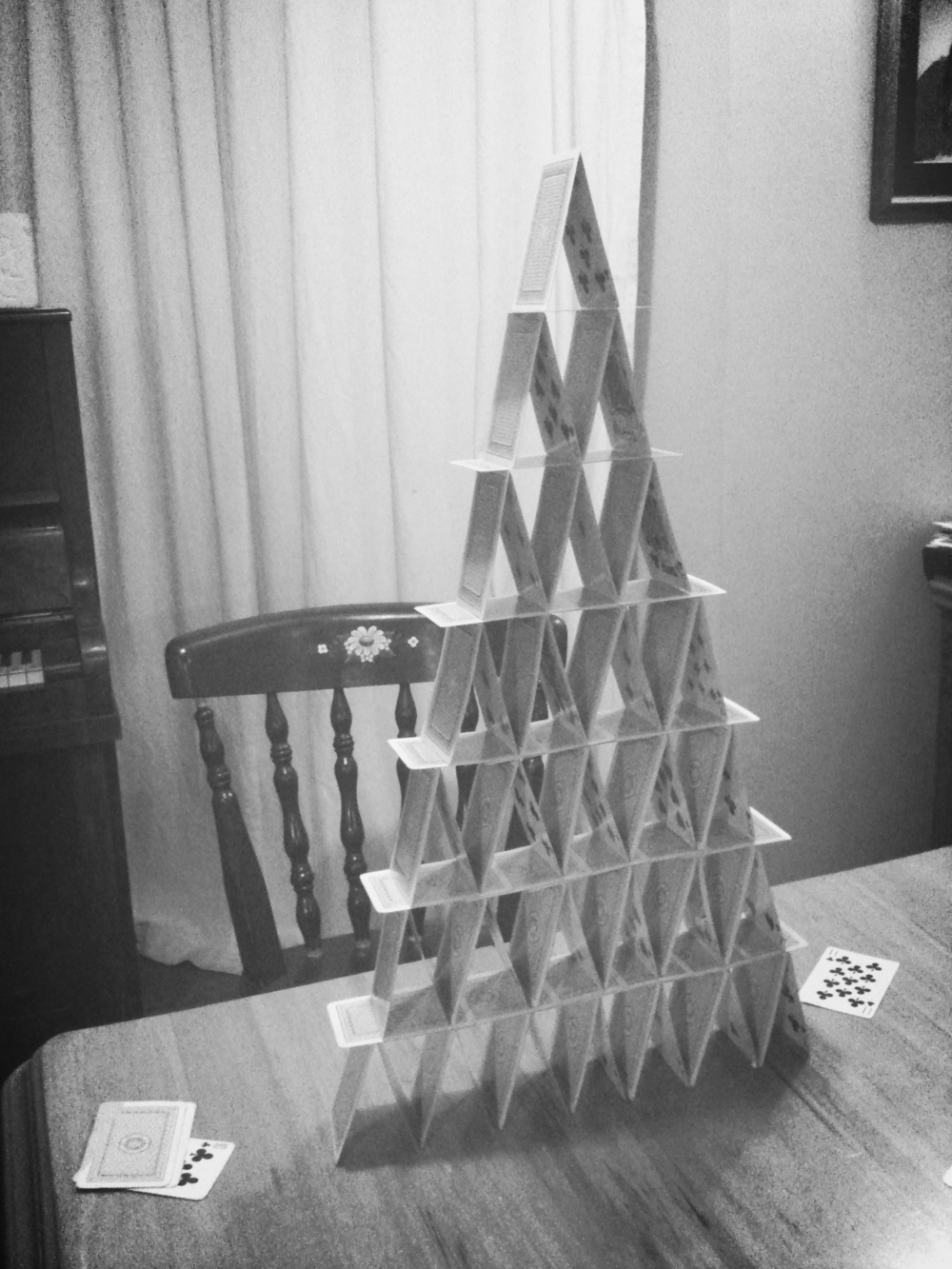 Seven storey playing card tower