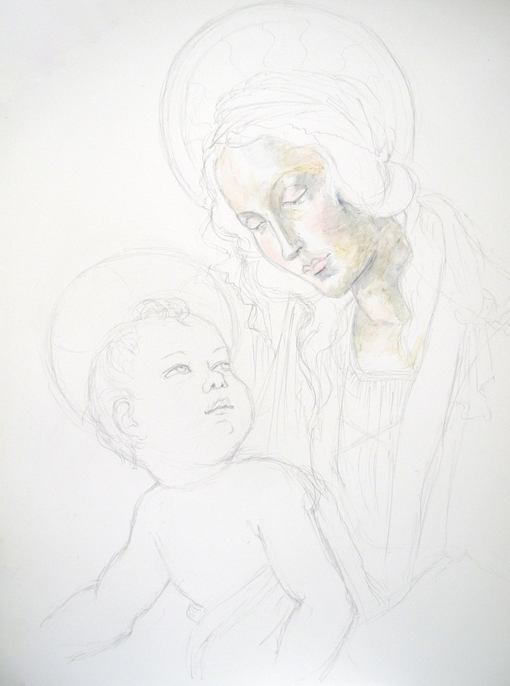 Madonna and child painting the layers