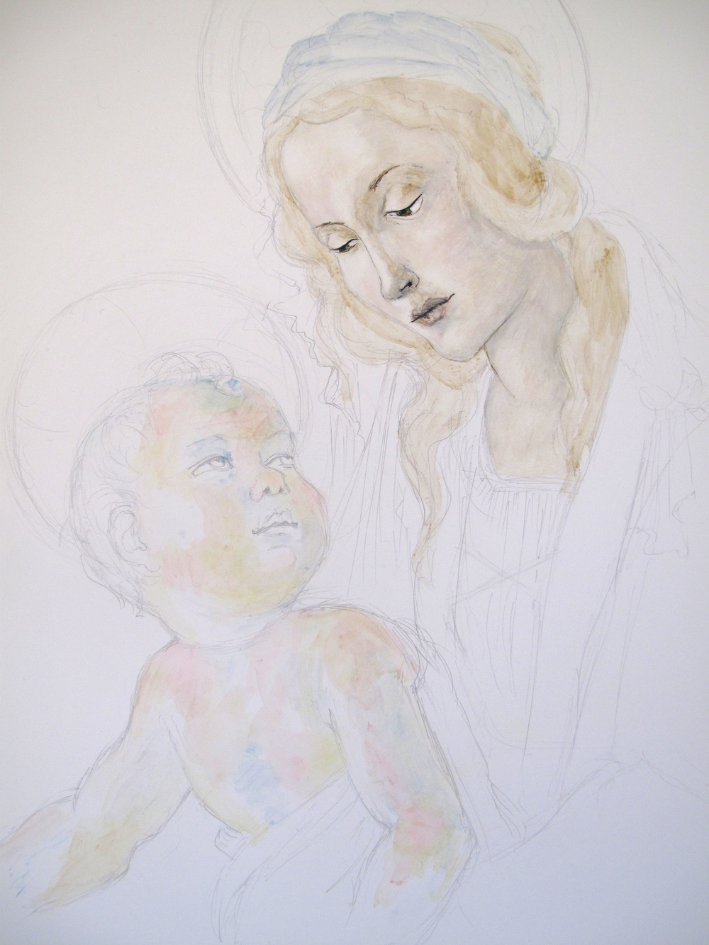 Painting Botticelli's Madonna and child - layers