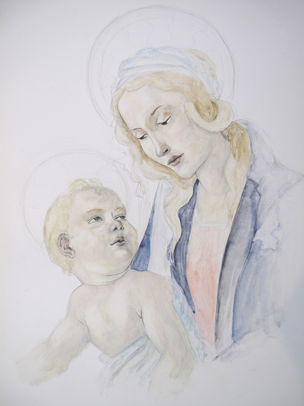 Madonna and Child painting in egg tempera