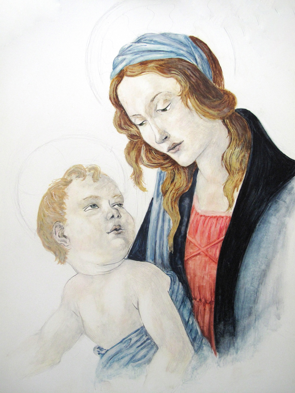 Madonna and Child Botticelli painting in egg tempera