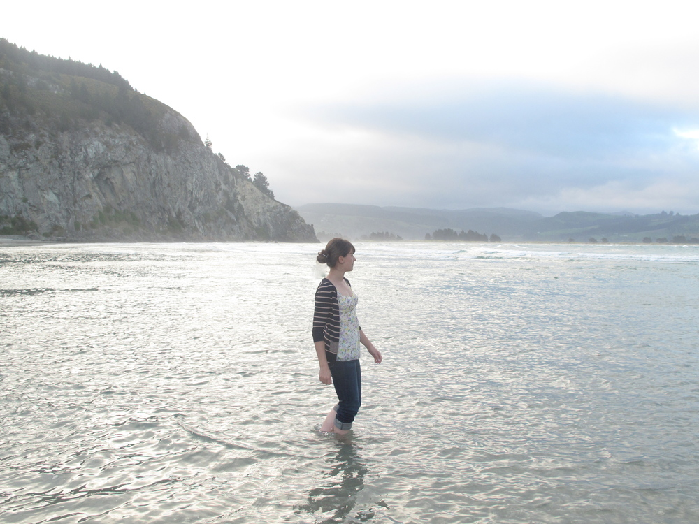 Standing in a silvery sea at Purakaunui NZ