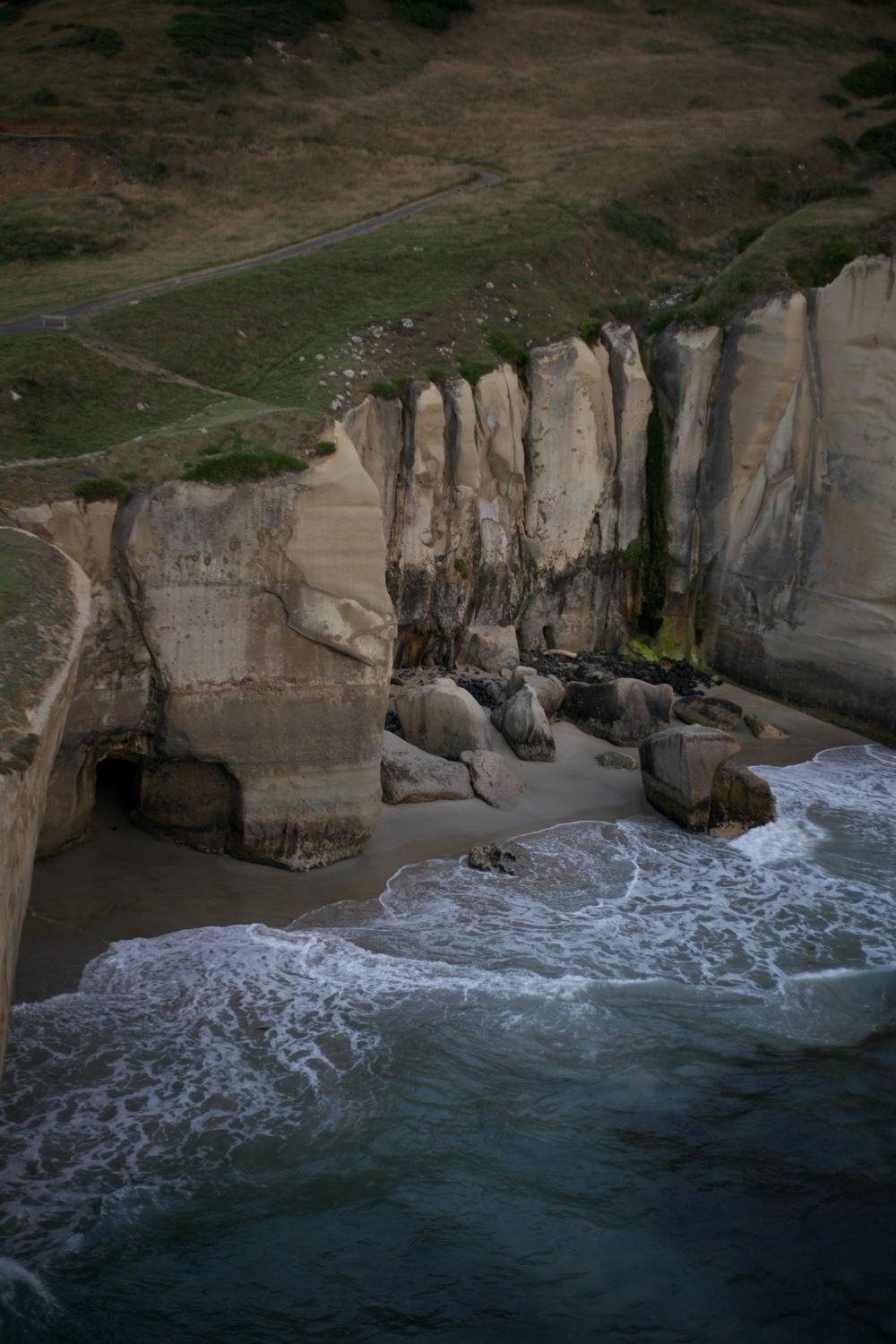 The beach and cave at Tunnel Beach