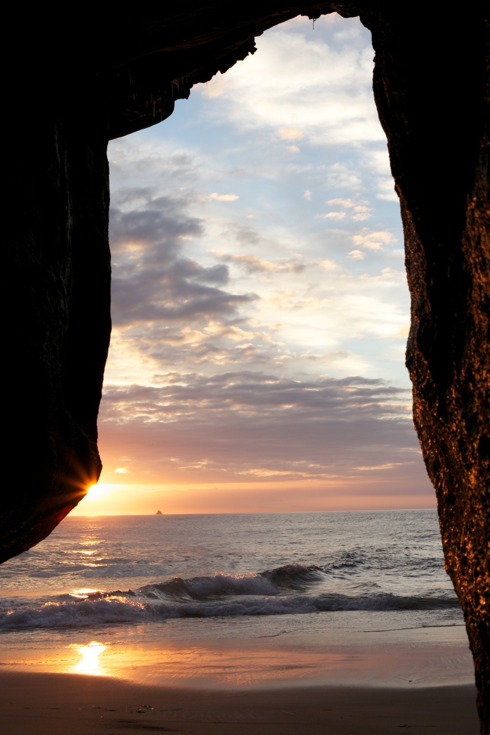Cave at Tunnel Beach looking out onto the sunrise