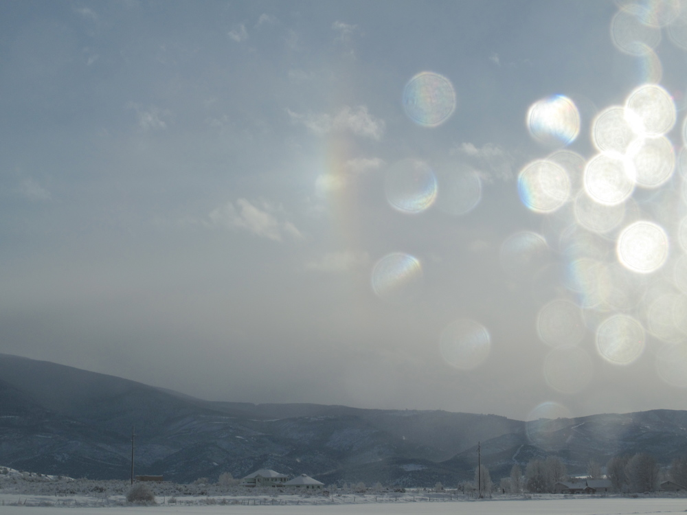 Sparkles and snow on a Colorado small town landscape