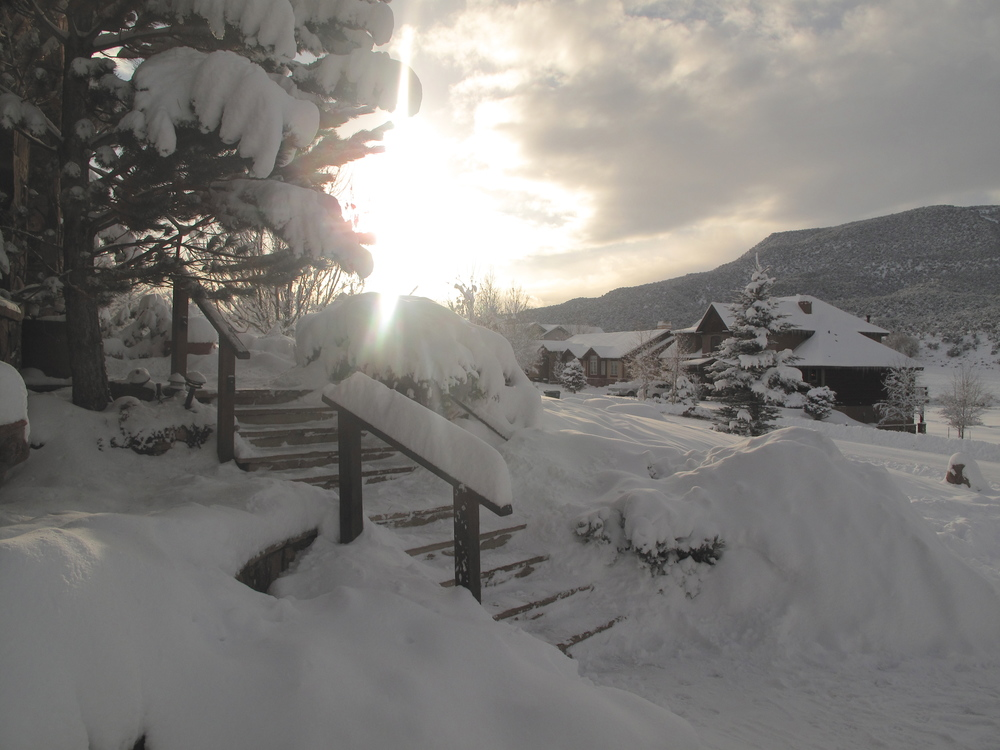 Sunset on a snowy village in Colorado