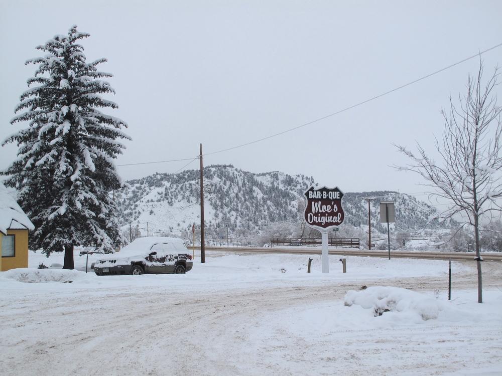 Moe's restaurant in the snow in Colorado winter