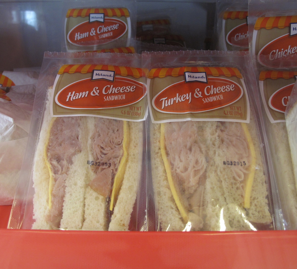 Super stuffed ham sandwiches at the Gas Station