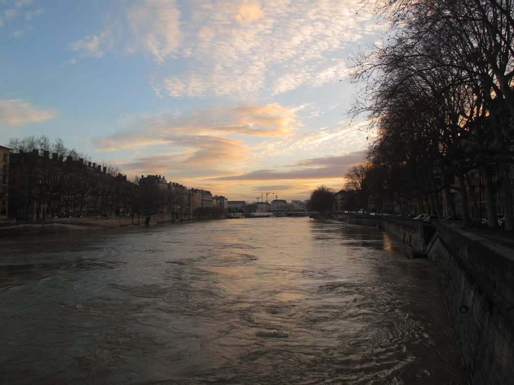 One of Lyon's rivers at sunset