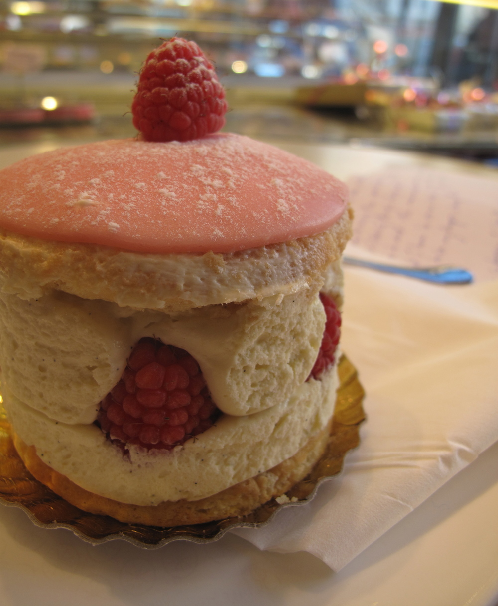 Pastry of cream and raspberries in Lyon, France