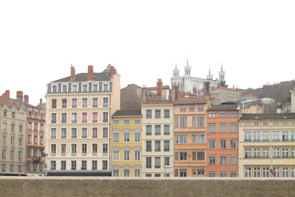 Pastel houses of Lyon along the riverside
