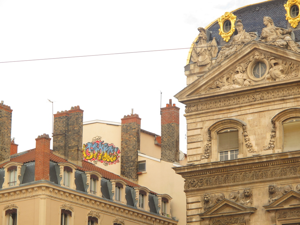 Old buildings in Lyon with graffiti on the mansard roofs