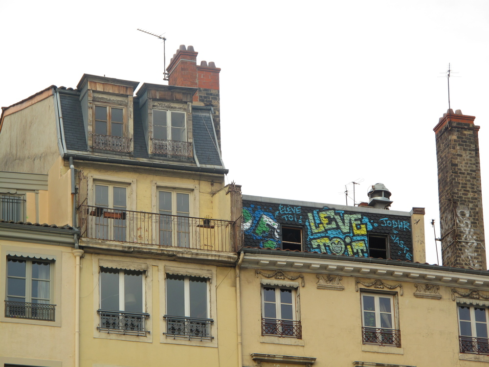Graffiti on the old buildings of the Croix Rousse, Lyon