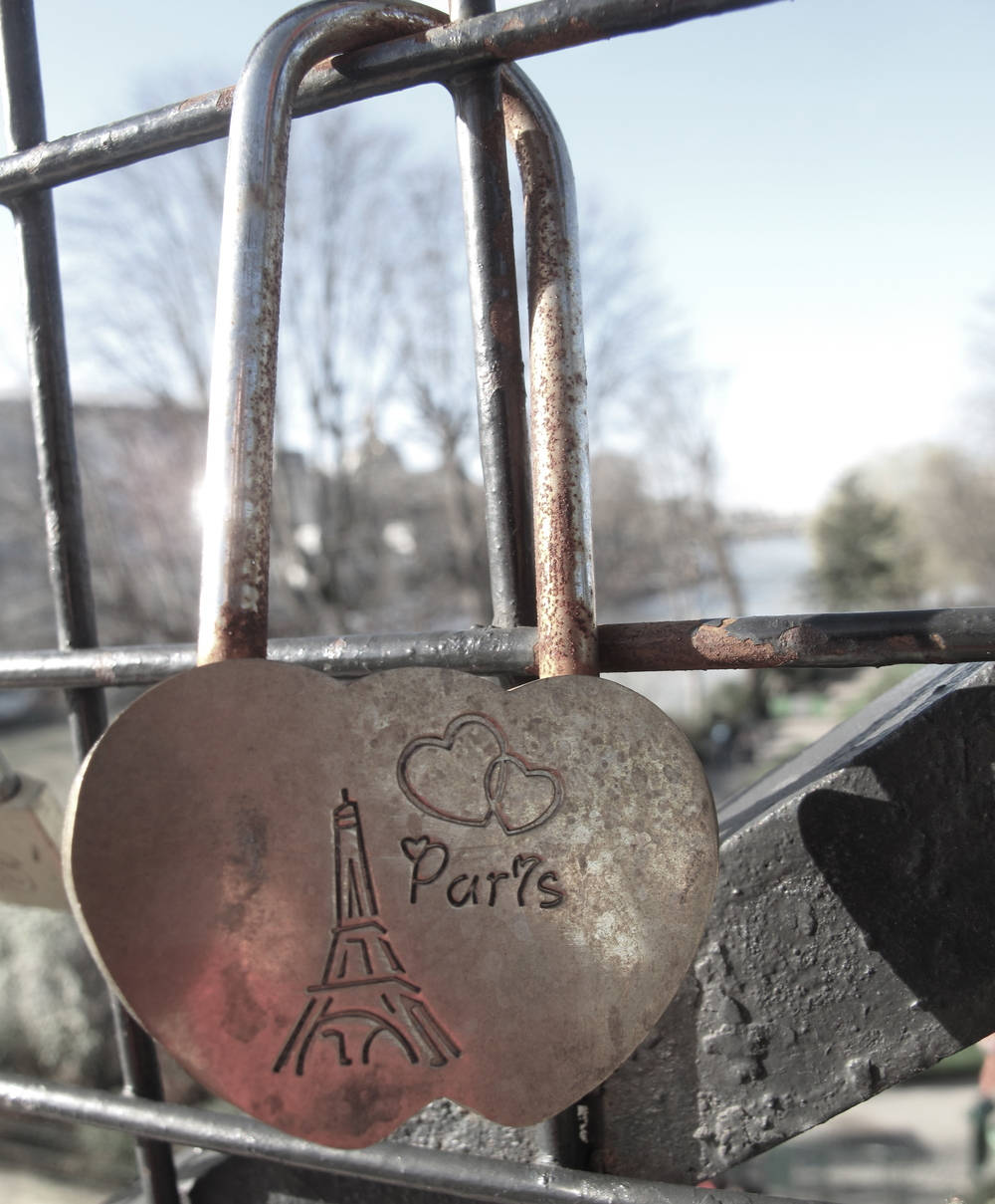 Love lock on bridge of Paris