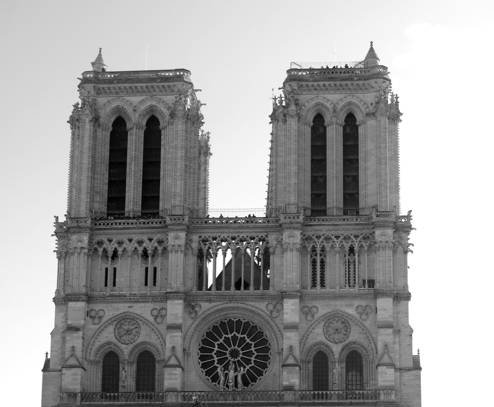 Front façade of the Catedral de Notre Dame, Paris, black and white photography