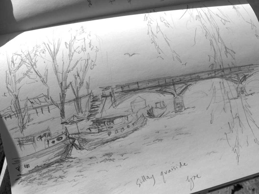 Quick drawing of boats on the Seine