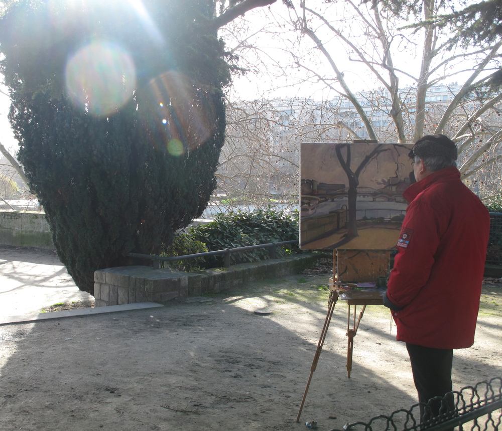 Painter in the Île Saint Louis in Paris, painting en plein air