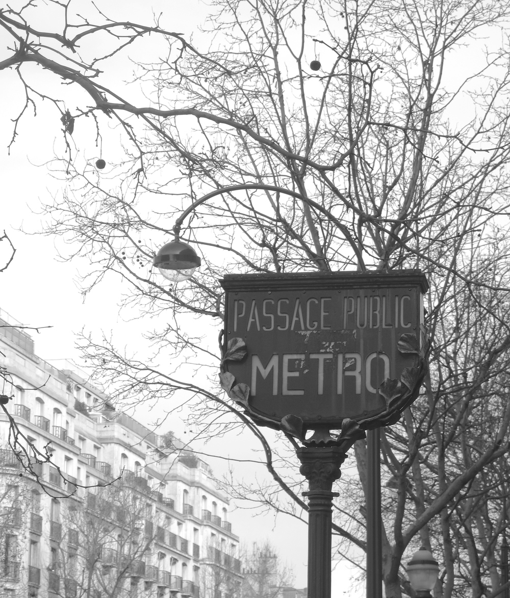 Metro sign in Paris, black and white photography