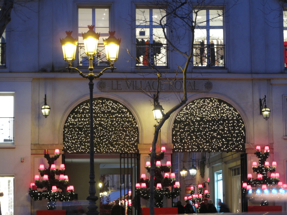 The triangle d'Or haute couture area of Paris, lit up at Christmas time