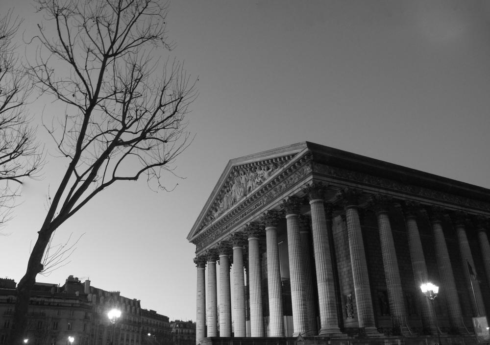 l'église de la Madeleine, black and white photography