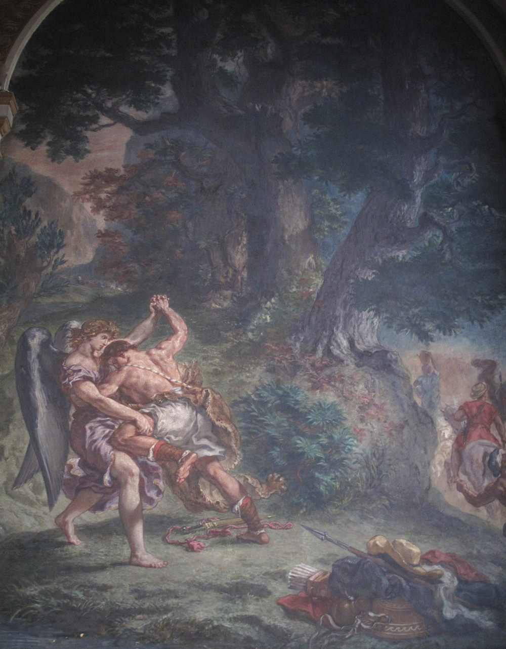 Jakob wrestling the Angel by Delacroix, in the church of St Sulpice, Paris