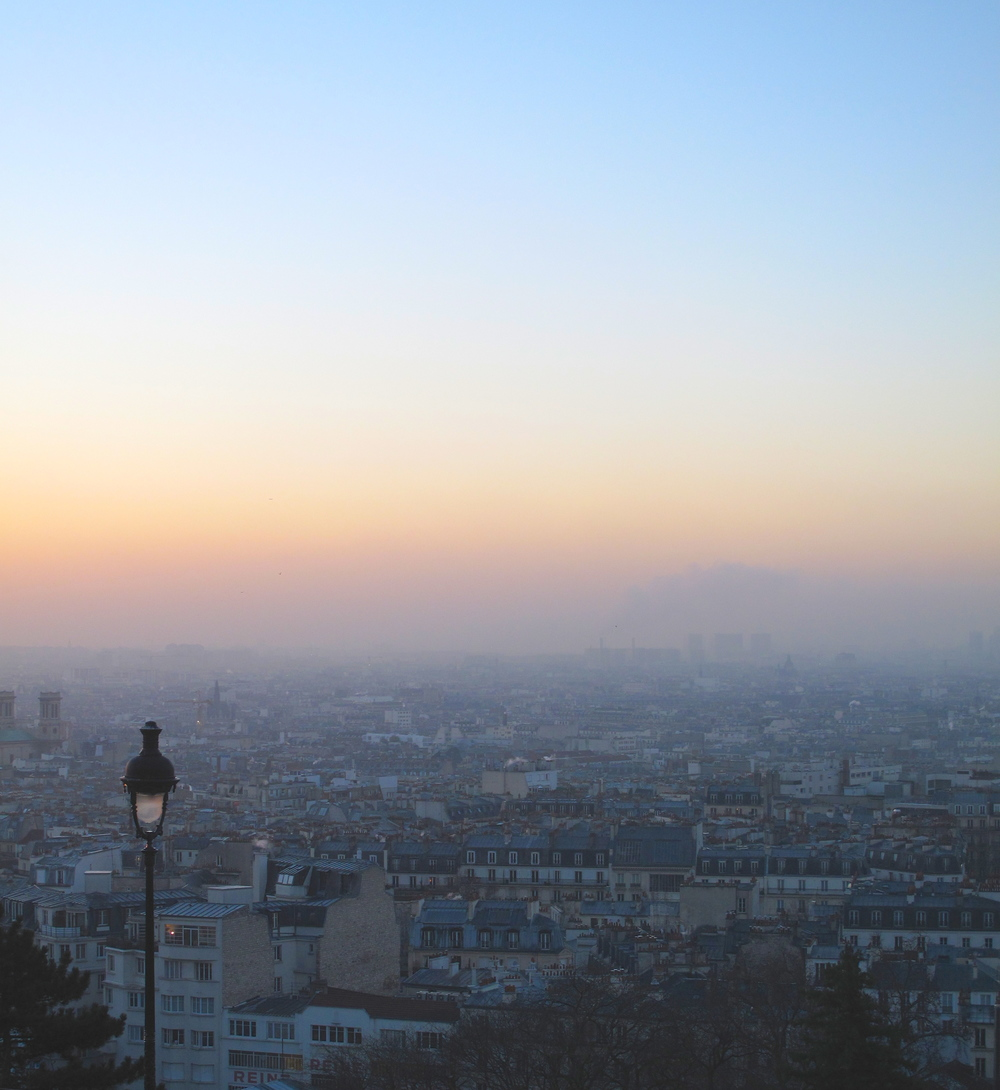 The view of Paris city from Sacré Coeur at sunrise