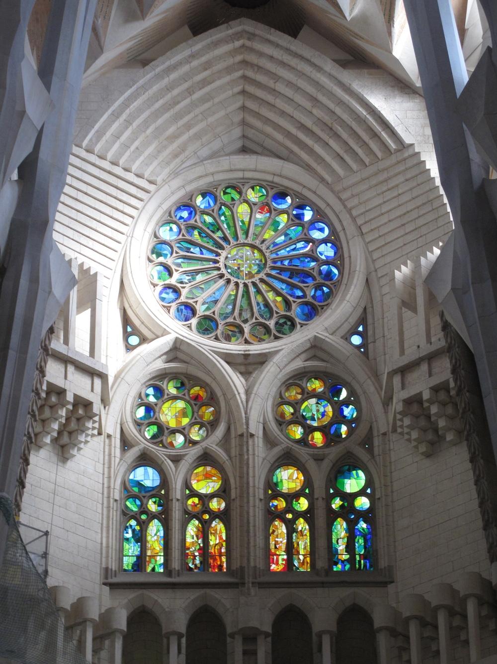 Stained glass window inside Sagrada Familia