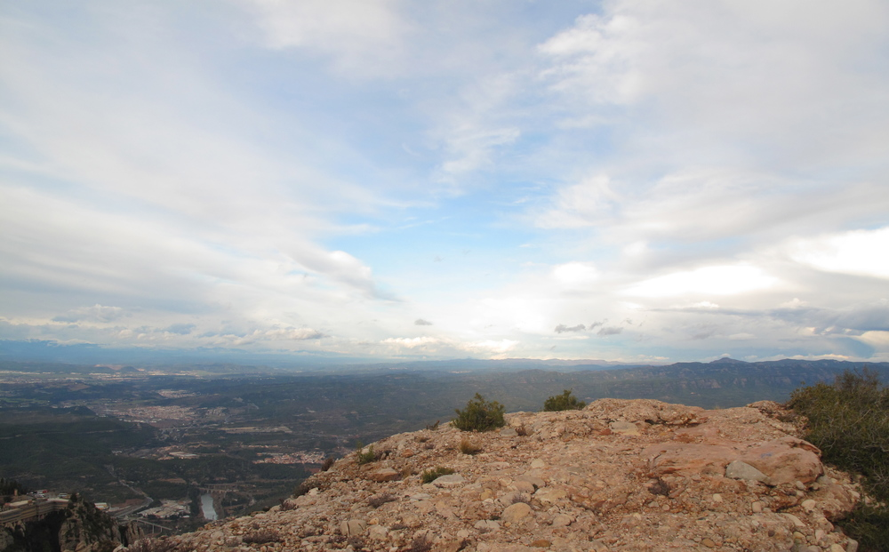 View of Catalonia from the edge of a hill on Montserrat mountain