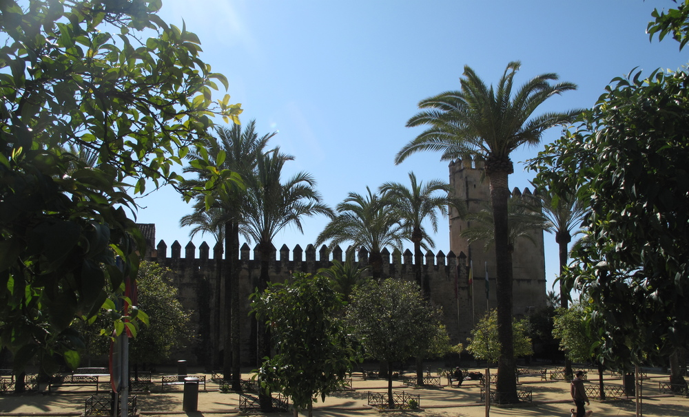 Exotic trees and castles at Cordoba, Spain