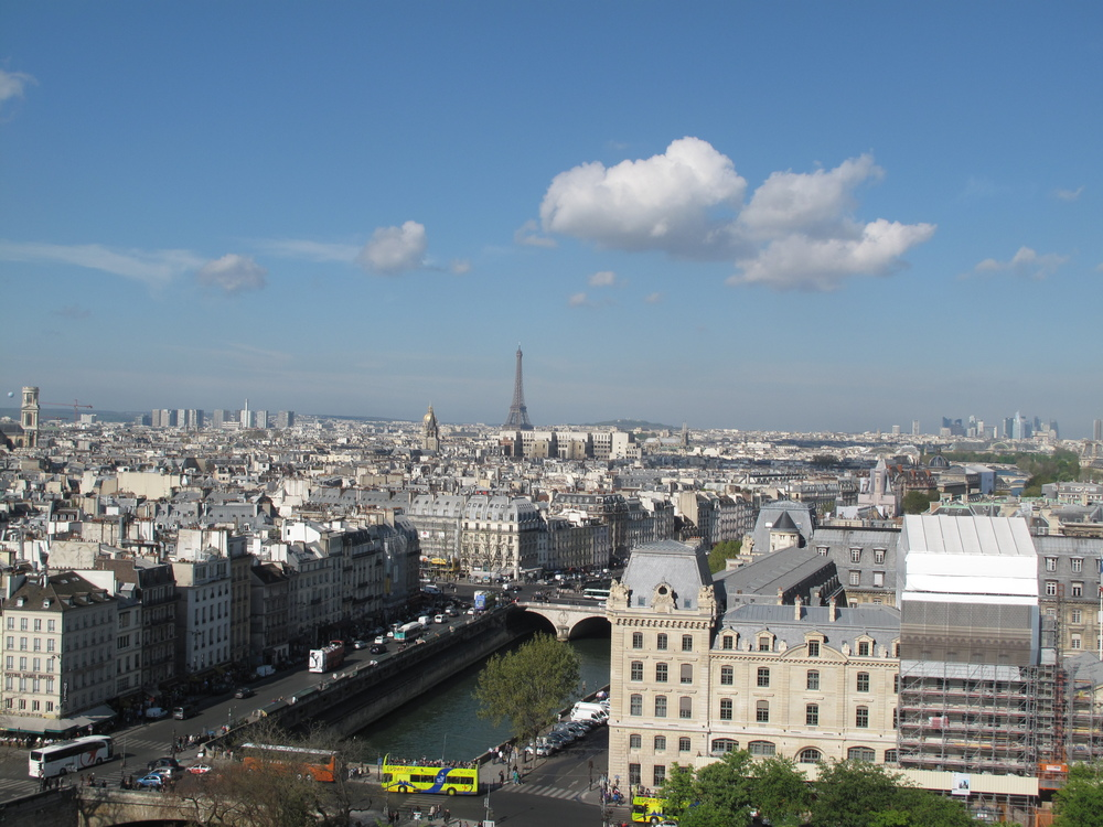 The view from Notre Dame's towers - Paris and the Eiffel Tower
