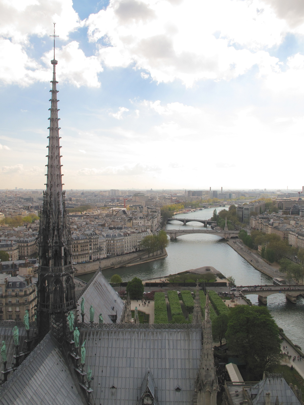 The view of Paris from the top of Notre Dame - towards the Seine and the Îles