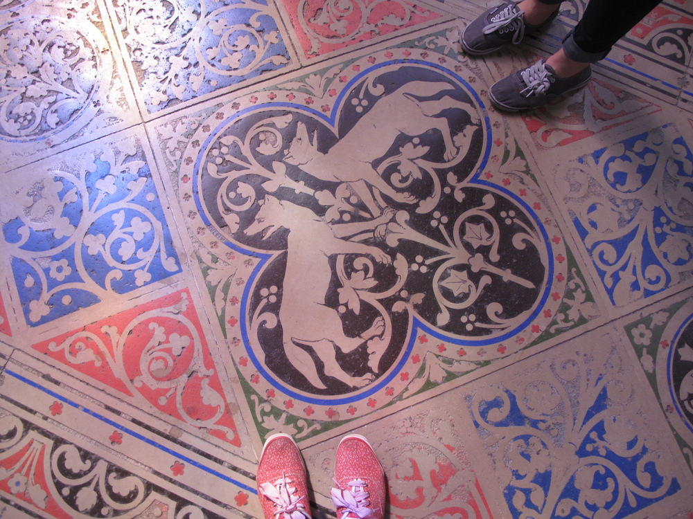 My foot and Nicoles foot - our shoe patterns matching the floor at St Chapelle