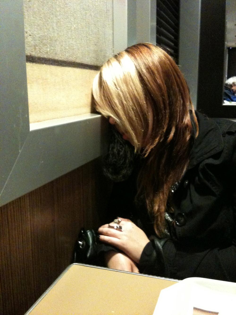 Rita sleeping in McDonalds
